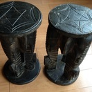 バリ風テーブル2個セット 象彫り物 アンティーク
