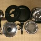 調理器具セット(両手鍋、片手鍋、フライパン、ボウル、ざる)