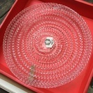 未使用◎アデリア 手づくりガラス透かしプレート 菓子皿