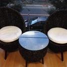 バリ風 テーブル椅子3点セット 激安