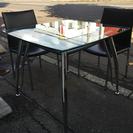 ☆120901☆ガラステーブル☆ 椅子二個付き 強化ガラス