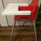 IKEA  ハイチェア  (レッド)  トレイ付き