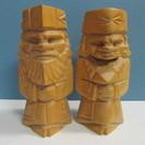 【アイヌ木彫り人形】ニポポ◆ペア◆夫婦◆北海道民芸品◆置物
