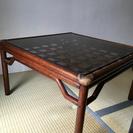 藤のローテーブル ガラス天板