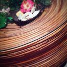 アジアン円形ガラステーブル