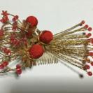 和服 髪飾り  赤  金  花