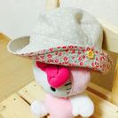 美品 ドットと花柄が可愛い帽子42size