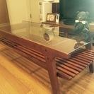【3,000円】ガラス天板 木製ローテーブル(棚付き) 幅120×...