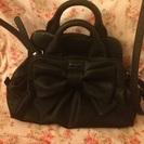 大きなリボンの可愛い2way黒いバッグ