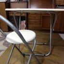 折りたたみ簡易テーブル & チェアー (ホワイト)