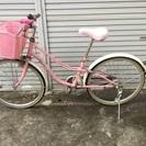 22インチ☆KIRAKIRA☆ピンク☆ライト付き☆子供用自転車カゴ付き