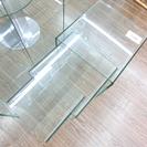 札幌 引き取り モーダエンカーサ 3連テーブル クリアガラス
