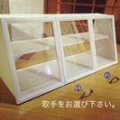 ガラス 3つ扉 カフェ風ショーケース 棚 ハンドメイド (白)