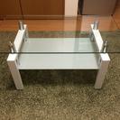 ガラステーブル ガラス製/金属製 ホワイト