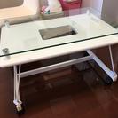 中古★折りたたみ式ガラスローテーブル 白