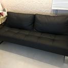 ソファベッド ダブルサイズ 黒レザータイプ