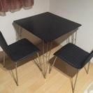 ニトリ ダイニングテーブルセット 黒2P