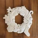 白木の木製クリスマスリース