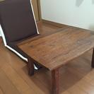 0円☆無料で差し上げます☆座椅子+ミニテーブル+折りたたみミニテーブル