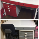 学習机❤️2組セット【赤・グレー】椅子つき