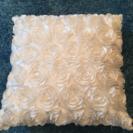 白いバラのクッシュンカバー(3個セット)