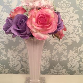白い花瓶 & 造花のブーケ(セット)