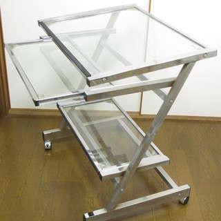 ☆ガラス天板パソコンデスク中段スライド式