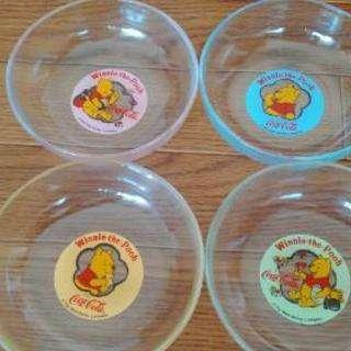 クマのプーさんのガラスボール 4枚セット