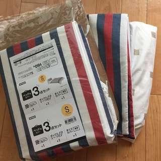 ニトリ ベッド用カバー3点セット(掛け布団カバー、ボックスシーツ、...