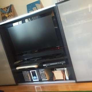 スライドドア付きテレビ収納棚