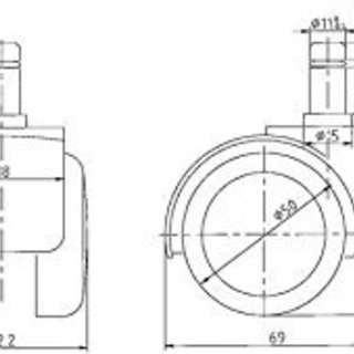 OAチェアー ウレタンキャスターLOAS製1セット(5個)
