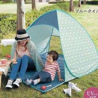 ポップアップ日よけテントと折り畳みレジャーチェア2個