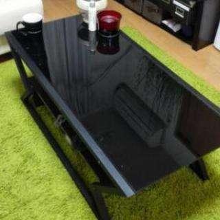 黒のガラステーブル テレビ台