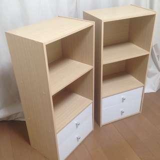 引き出し2段つきカラーボックス2個【淡い木目調×白】