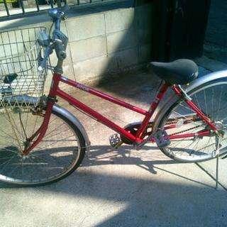 26インチ自転車 赤色