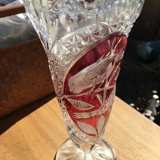 ガラスの鳥模様花瓶