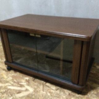 LC100108 ガラス扉.キャスター付き テレビボード ブラウン