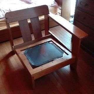 木製・革張りソファ