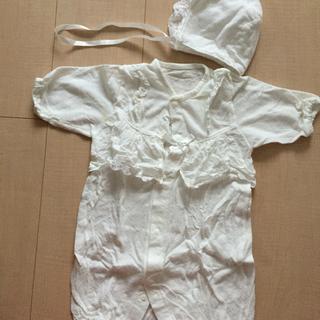 新生児 ベビードレス 白 帽子付き