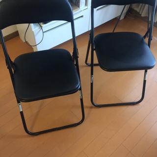 パイプ椅子2脚/黒/