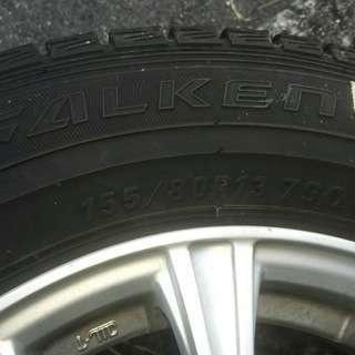 スタッドレスタイヤ FALKEN  155/80 R13、アルミホ...