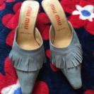 ミュウミュウ靴ミュールフリンジスエード
