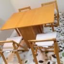 【お話し中】折りたたみ 食卓テーブルセット キャスター付き