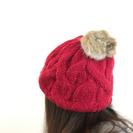 ポンポン付き ニット帽 ベレー帽 赤