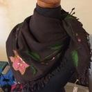 インド製◎ダブルガーゼ・刺繍ストール◎正方形