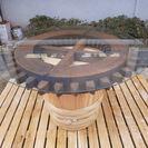 ★ 酒樽&水車の歯車 テーブル ディスプレイ台セット ① ★