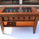 ★☆ 木製テーブル ガラス天板 ☆★
