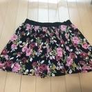 花柄 ブラックミニスカート
