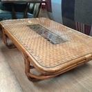 アジアン 籐 ロータイプ ガラステーブル