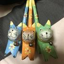 民芸品アジアンテイストな猫ちゃん3匹セット☆